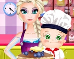 Elsa and Rosy Cooking Pancakes