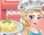 Elsa Cooking Spaghetti